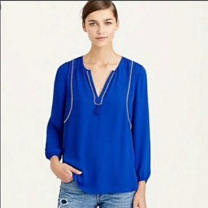 J. CREW Blue Embroidered V-Neck Tassel Blouse